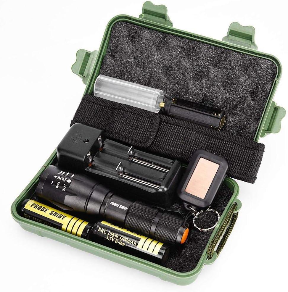 Mini LED Kit de linterna de alta potencia - Linterna de mano Paticess, 3000 lúmenes 1X G700 X800 LED linterna, 1 linterna llavero, 2x18650 batería, 1 cargador, 1 correa de mano, 1X caja
