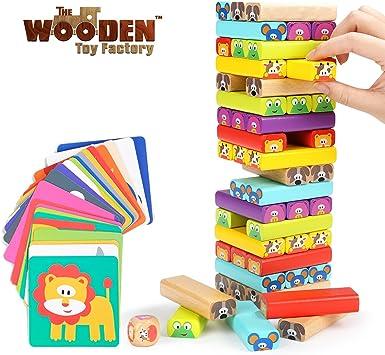 The Wooden Toy Factory - Juego de Torre de Bloques de Madera Animales 4 en 1, Juguete