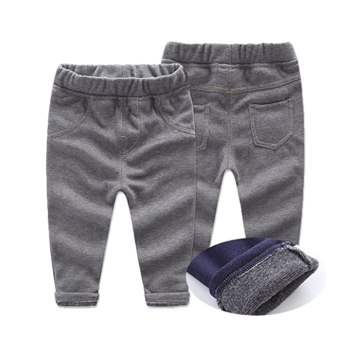 cef8fbb23c9 Amazon.com  Sunny Baby Warm Jeans Pants Baby Girls Boys Leggings Winter  Jeans for Kids Trousers  Clothing