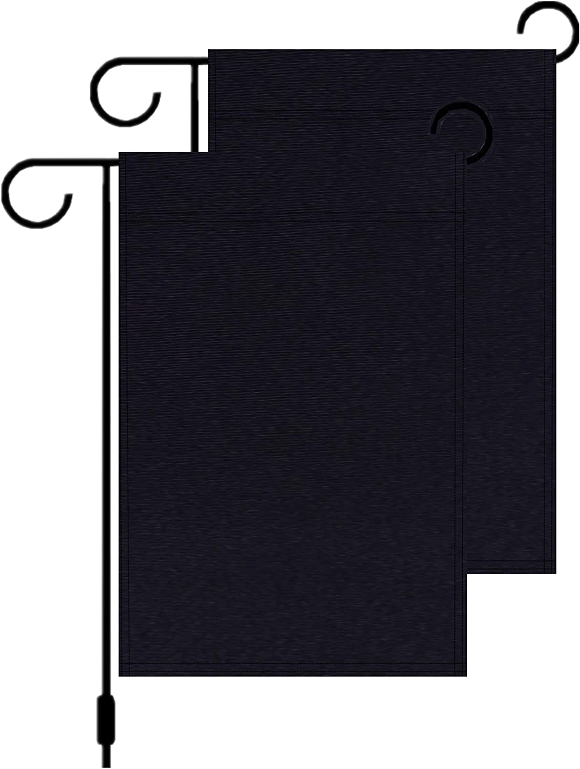 2 Pcs Solid Black Lawn Garden Flags,Double-Sided Plain Black Blank Parade Banners Yard DIY Flags - 12 x 18 Inch Perfect Decor for Outdoor Yard Porch Patio Lawn