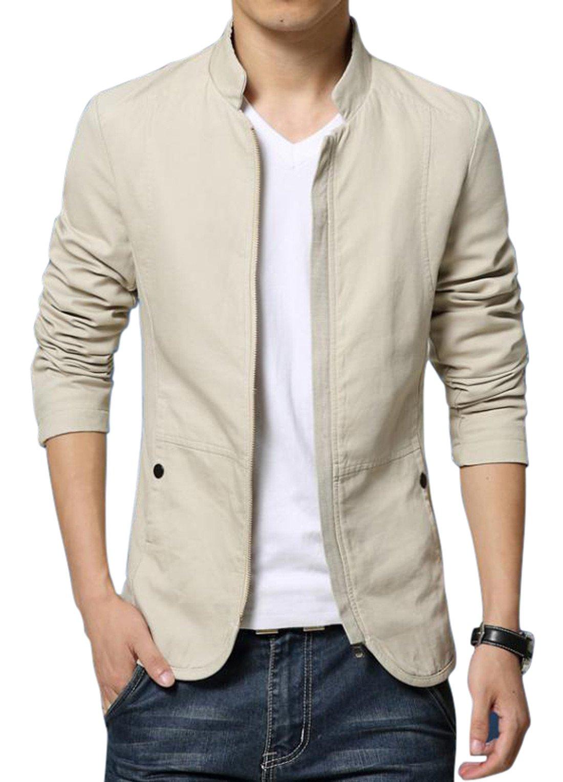 Chouyatou Men's Basic Mandarin Collar Zip Lightweight Fitted Cotton Jacket (Large, Beige)