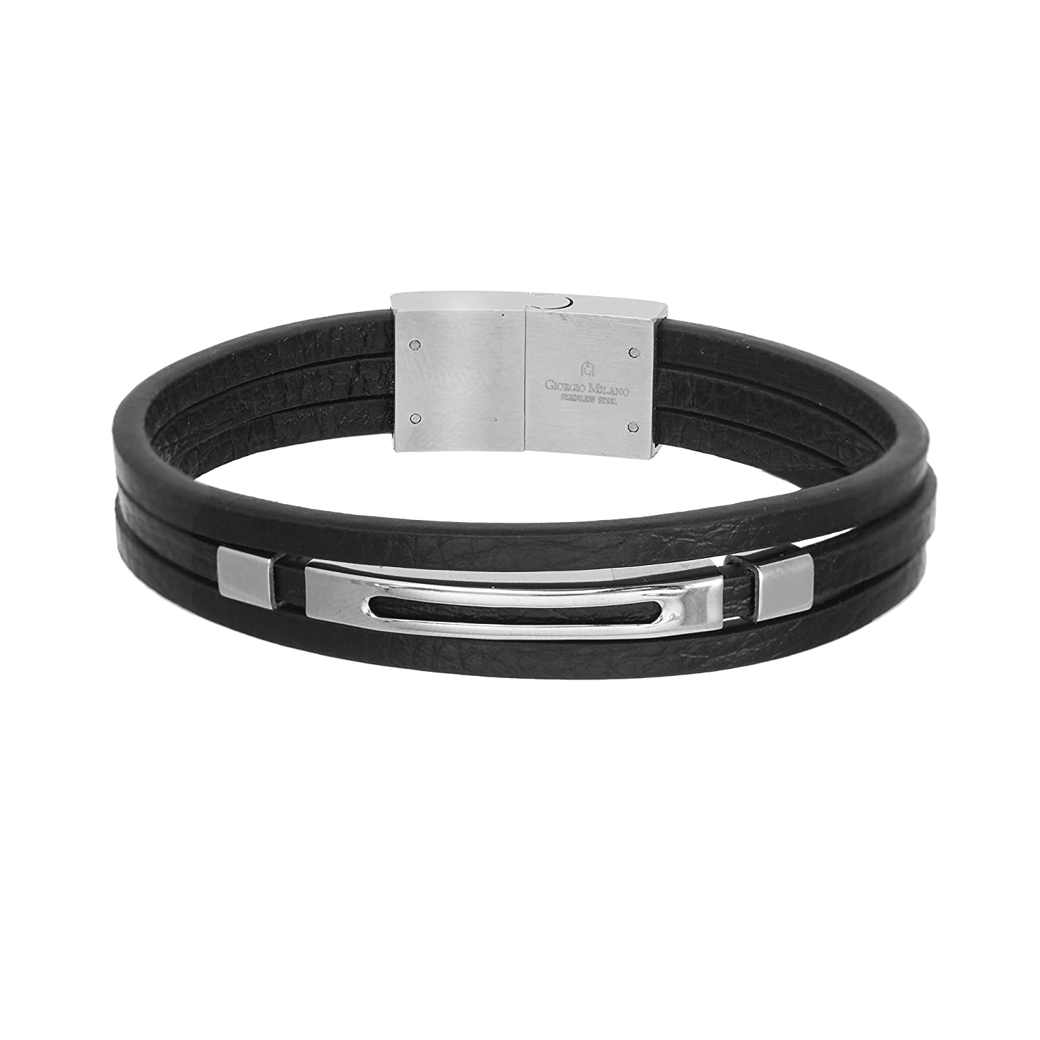 Giorgio Milano 1567ST2 Stainless Steel Ana Genuine Black Leather Bracelet