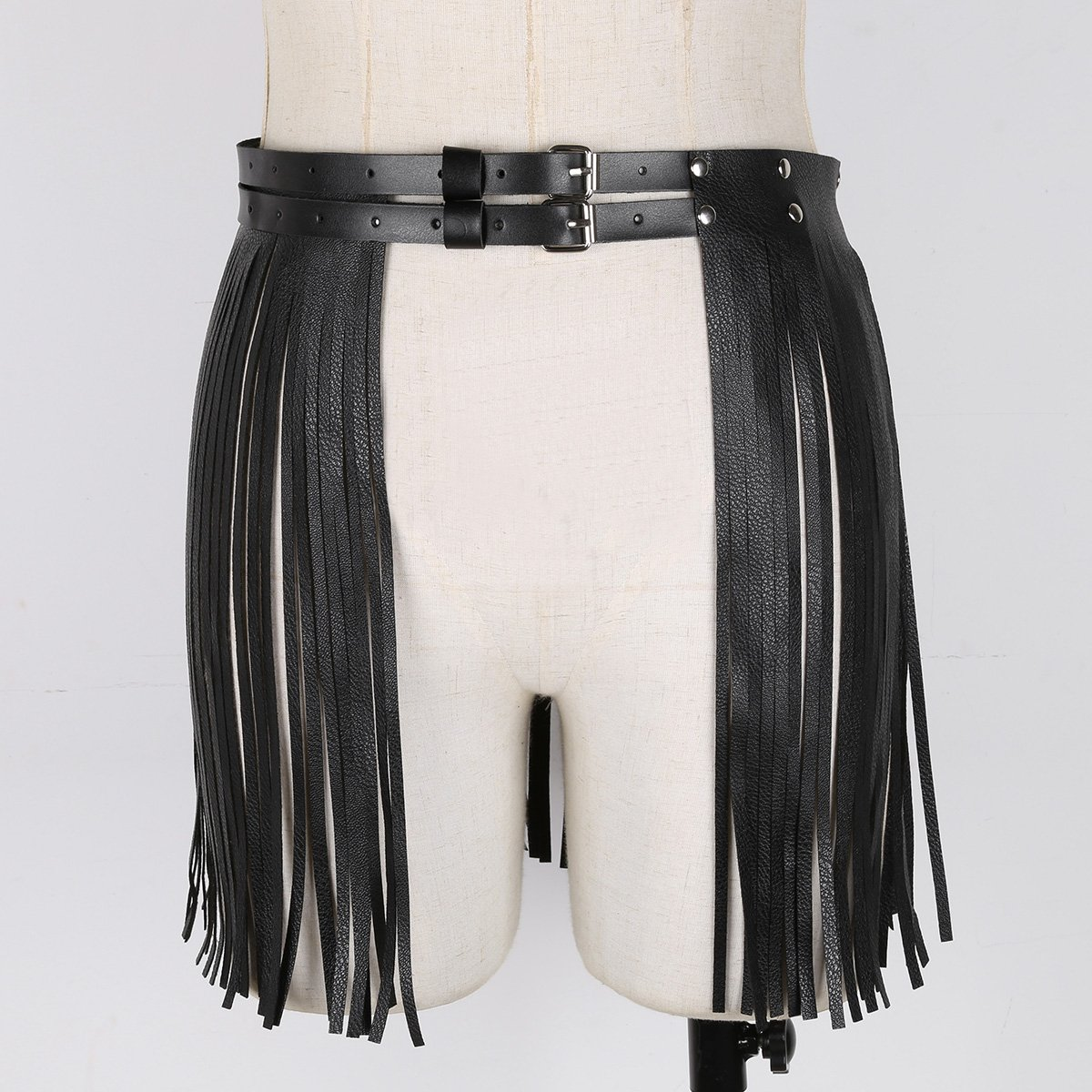 iEFiEL Women Faux Leather Waistband Fringe Tassel Skirt with Adjustable Belt for Party Dance Performance Costume