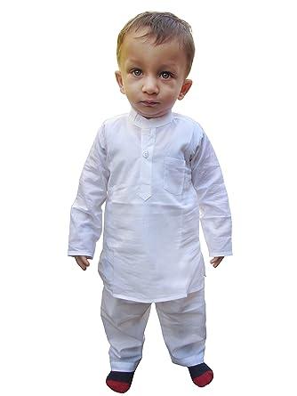 b5a0dc2aaa Amazon.com: Flawn't Plain White Cotton Kurta and Pajama Set for toddler boys:  Clothing
