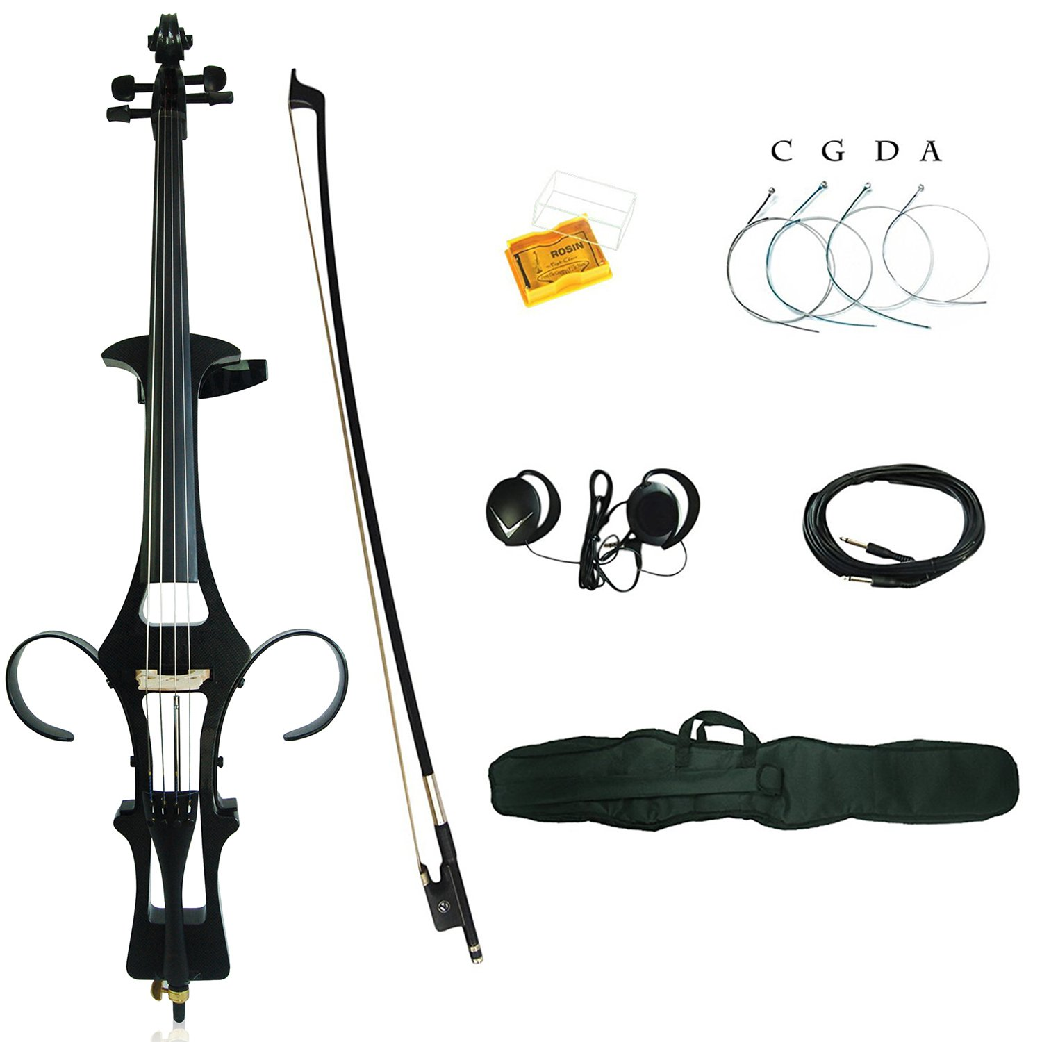 Leeche Premium 4/4 Full Size Solid Wood Electric Cello Violoncello Maple Solid Wood body Ebony Fittings with Bag, Bow, Rosin, Aux Cable, Earphone, Extra set of Strings(Carbon Fiber) by leeche