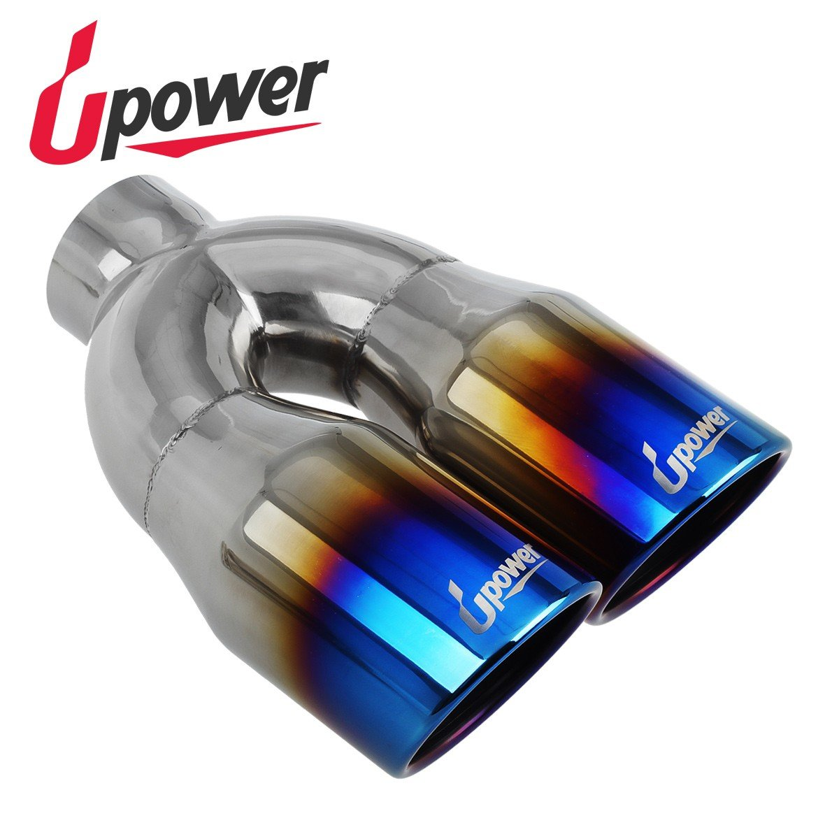 2 PCS Upower Dual Outlet 2.5 to 3.5'' Exhaust Tips Vaccum Plating Blue 10'' Long Tail Pipe Weld On by Upower