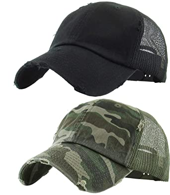 1cecf6ec H-6140-2-K0684 Trucker Hat 2-Pack Bundle: Distressed Black & Camo at ...