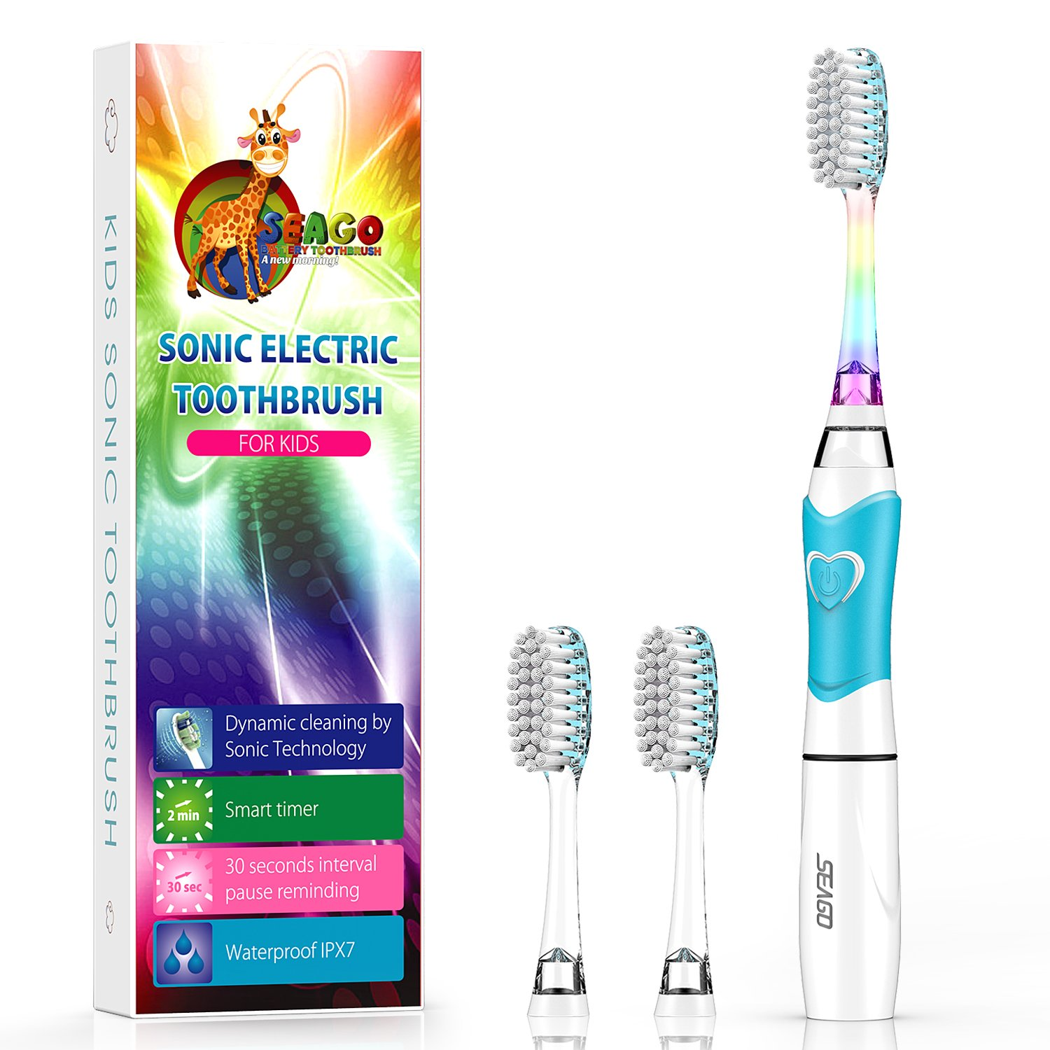 Kids Electric Toothbrush, Soft Battery Tooth Brush with Timer Powered by Sonic Technology for Children Boys and Girls, waterproof for shower (Blue)