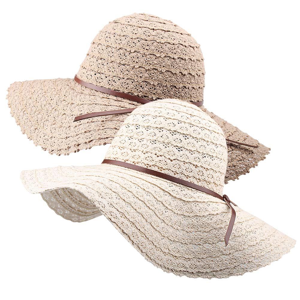 Wide Brim Sun Hats for Women Floppy Summer Beach Hat UV UPF Travel Packable Foldable with Chin Cord FURTALK Beige/Khaki
