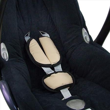Bambiniwelt Universal 3tlg Set Gurtpolster Schrittpolster Für Maxi Cosi RÖmer Babyschalen Gruppe0 Beige Hell Xx Baby