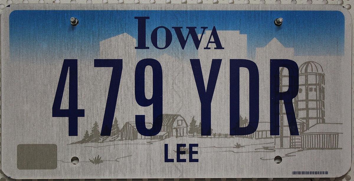 USA Nummernschild IOWA ~ US Kennzeichen Farm Motiv ~ Blechschild