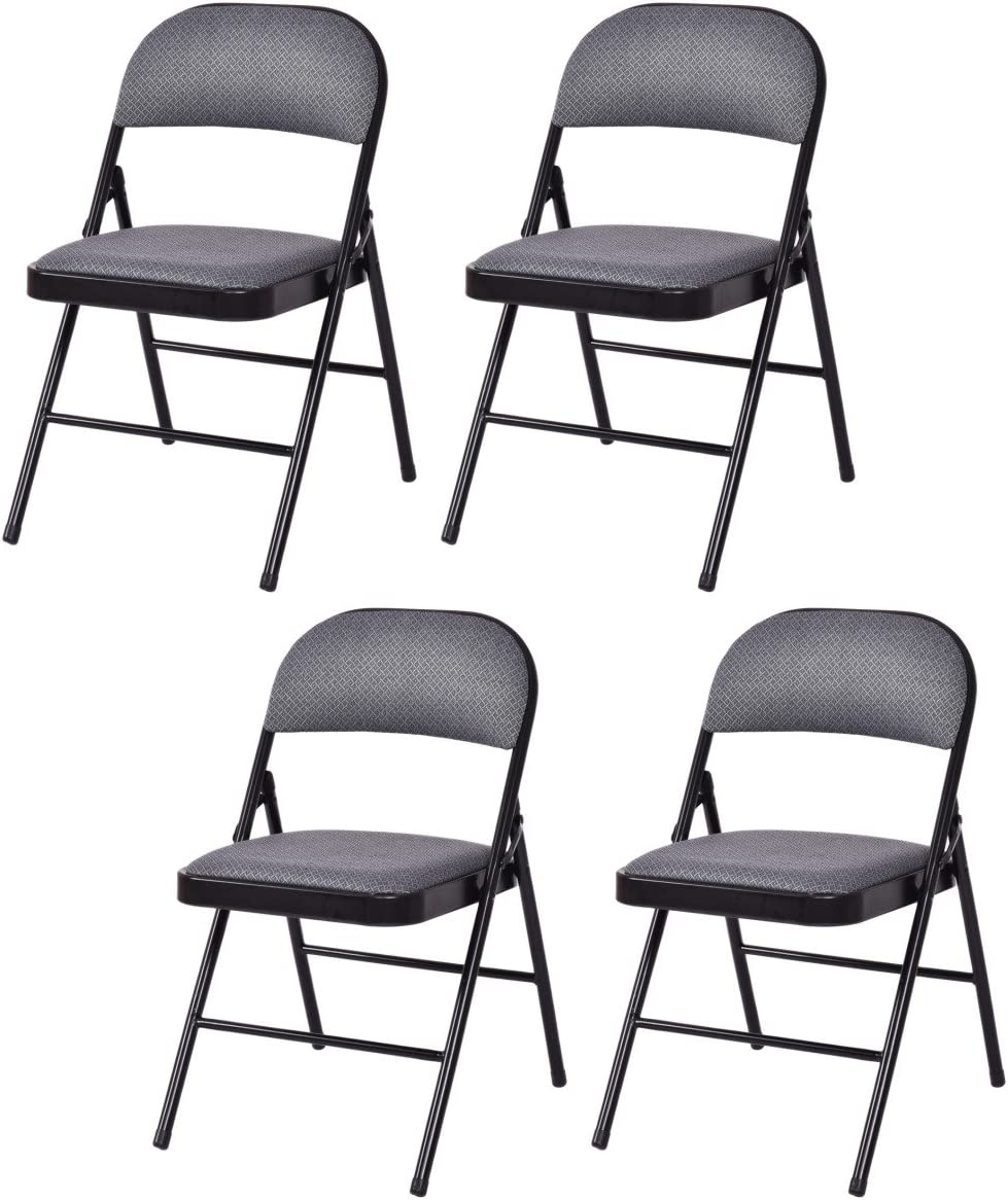 Giantex 4-Pack Folding Chairs with Metal Frame and Fabric Upholstered Padded Seat, Foldable Home Office Party Chair Set Grey