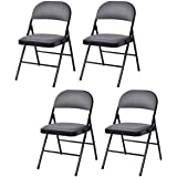 Giantex Set of 4 Folding Chairs Fabric Upholstered Padded Seat Metal Frame Home Office (Grey&Black)