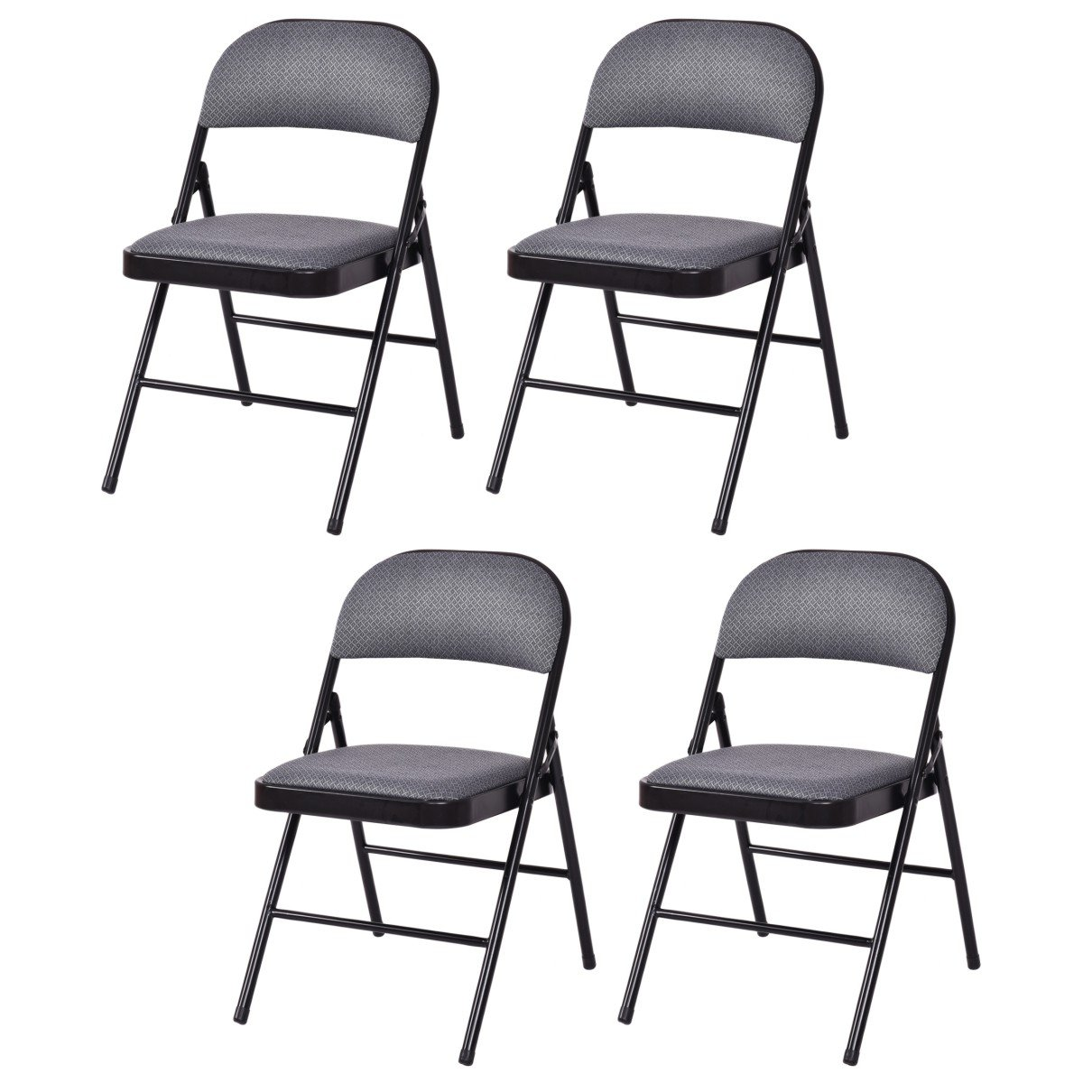 Giantex 4-Pack Folding Chairs with Metal Frame and Fabric Upholstered Padded Seat, Foldable Home Office Party Chair Set (Grey) by Giantex