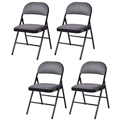 4 Pack Folding Chairs.Giantex 4 Pack Folding Chairs With Metal Frame And Fabric Upholstered Padded Seat Foldable Home Office Party Chair Set Grey