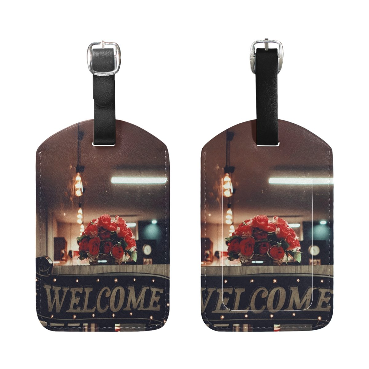 Saobao Travel Luggage Tag Dinner Flowers Lighting PU Leather Baggage Suitcase Travel ID Bag Tag 1Pcs