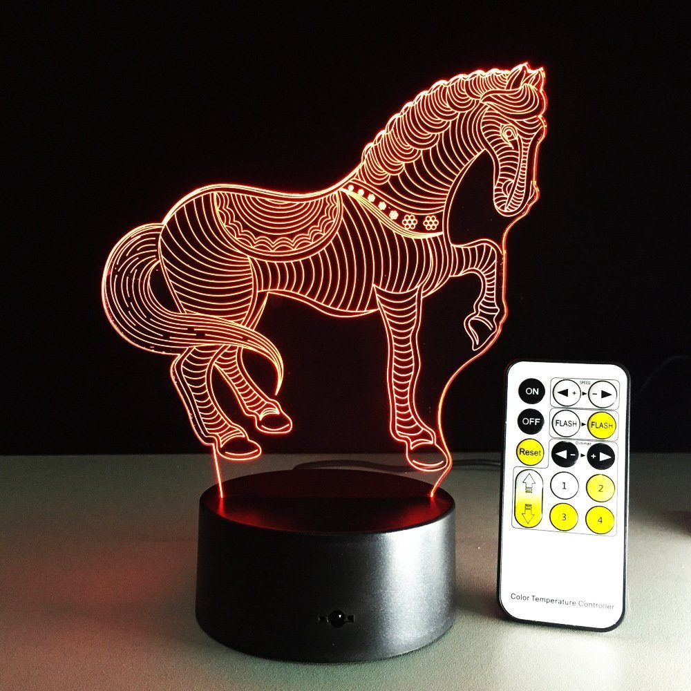 Circle Circle 3D Optical Illusion Lamp 7 Colors Change Touch Button and 15 Keys Remote Control Creative Horse Art Sculpture Visual LED Night Light