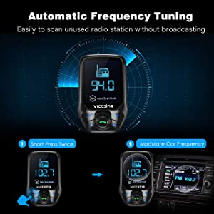 VicTsing (Upgraded Version) Bluetooth FM Transmitter, Auto Scan Unused Station Bluetooth Radio Transmitter Adapter for Car with 1.8 Color Screen, QC 3.0, EQ Modes, Aux, Hands-Free Calls (Color: Black)