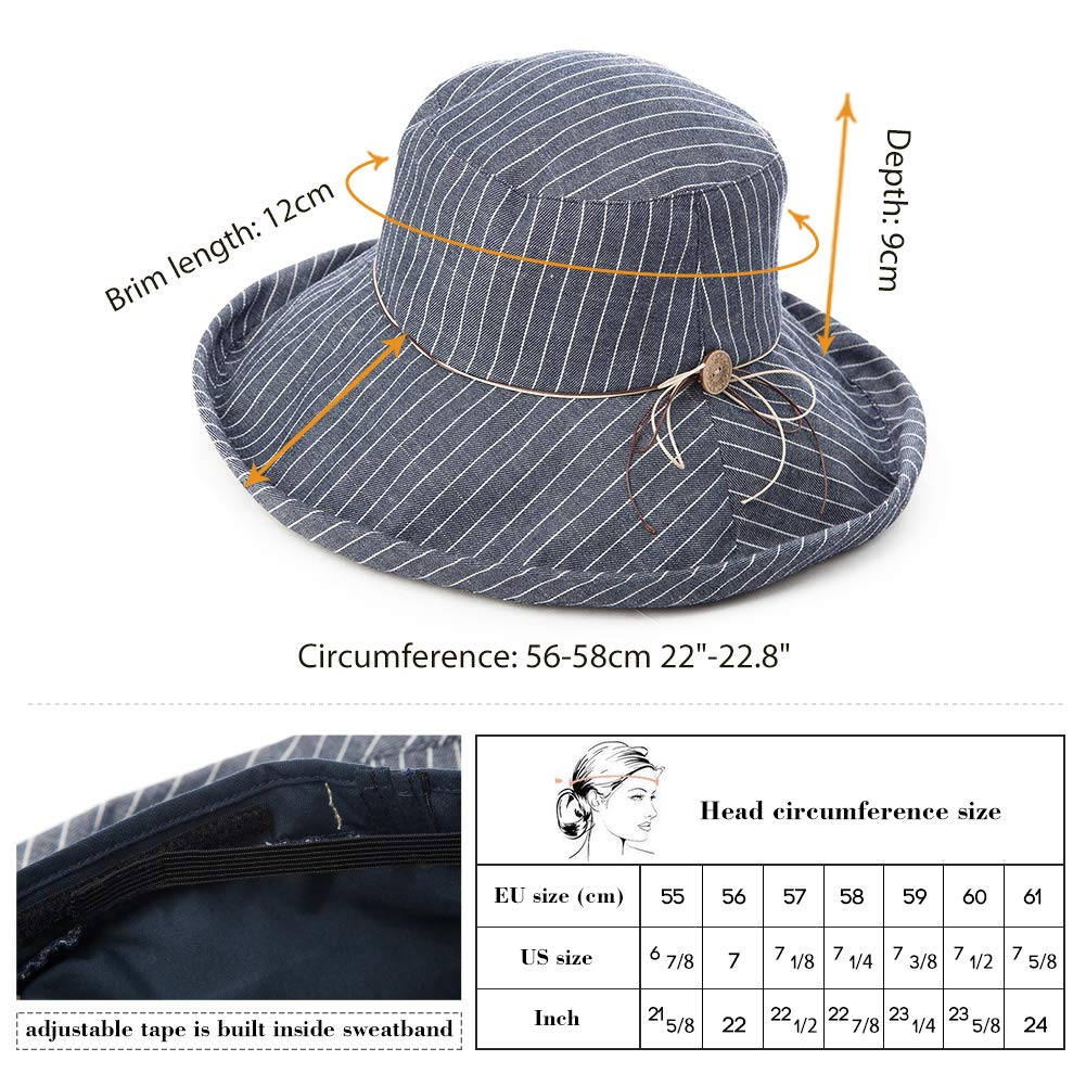 Fancet Foldable Sun Bucket Hat Women Rolled Up Brim Boating Hiking UV Protection Bonnie Gardening Grey by Fancet (Image #3)