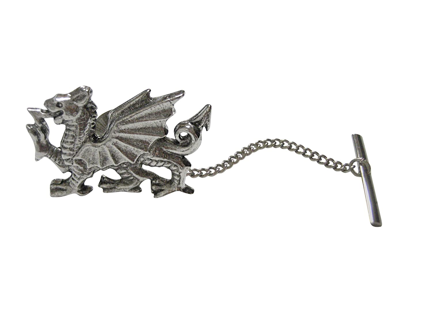 Silver Toned Textured Welsh Dragonタイタック   B06XTK4DQK