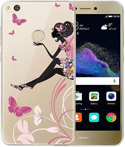 P8 Lite 2017 / Honor 8 Lite Cover , YIGA Colore Farfalla Ragazza Fiore Trasparente Silicone Morbido TPU Case Custodia per Huawei P8 Lite 2017 / Honor ...