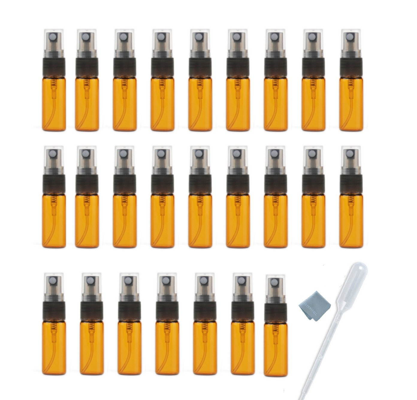 ELFENSTALL- 20pcs Amber 5ml 1 6oz Atomizer Vial Glass bottle Spray Refillable Perfume Empty Fine Mist Sample Bottle Clean Cloth Free 3ML Pipette for Travel Party