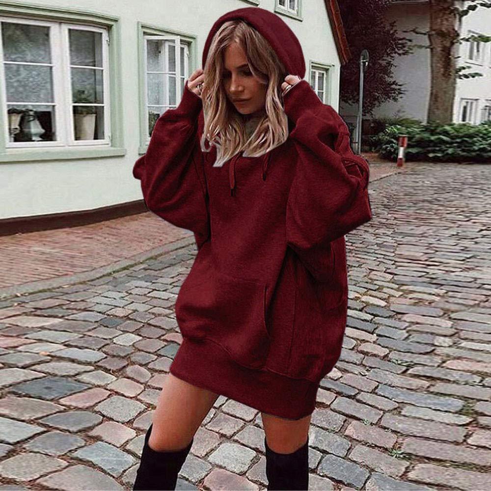 Sweats /à Capuche Femme Hoodie Sport Sweat-Shirts Robe Pull Fille Grande Taille Veste /à Manches Longues Hiver Sweatshirt D/écontract/ée Hooded Manteau Swag Tops Coton