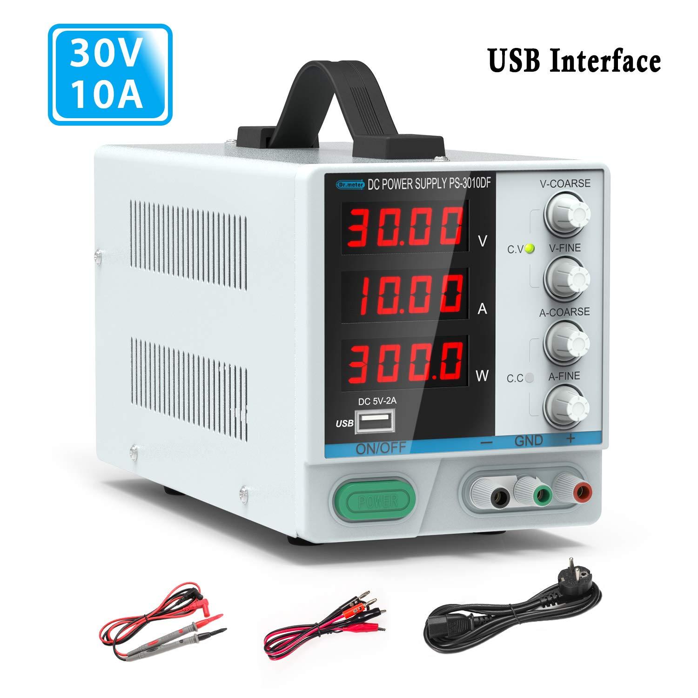Fuente de alimentación de corriente variable, 0-30V / 0-10ª. Fuente de alimentación regulada de conmutación ajustable digital, con cables de pinza y cable de alimentación UE (blanco)