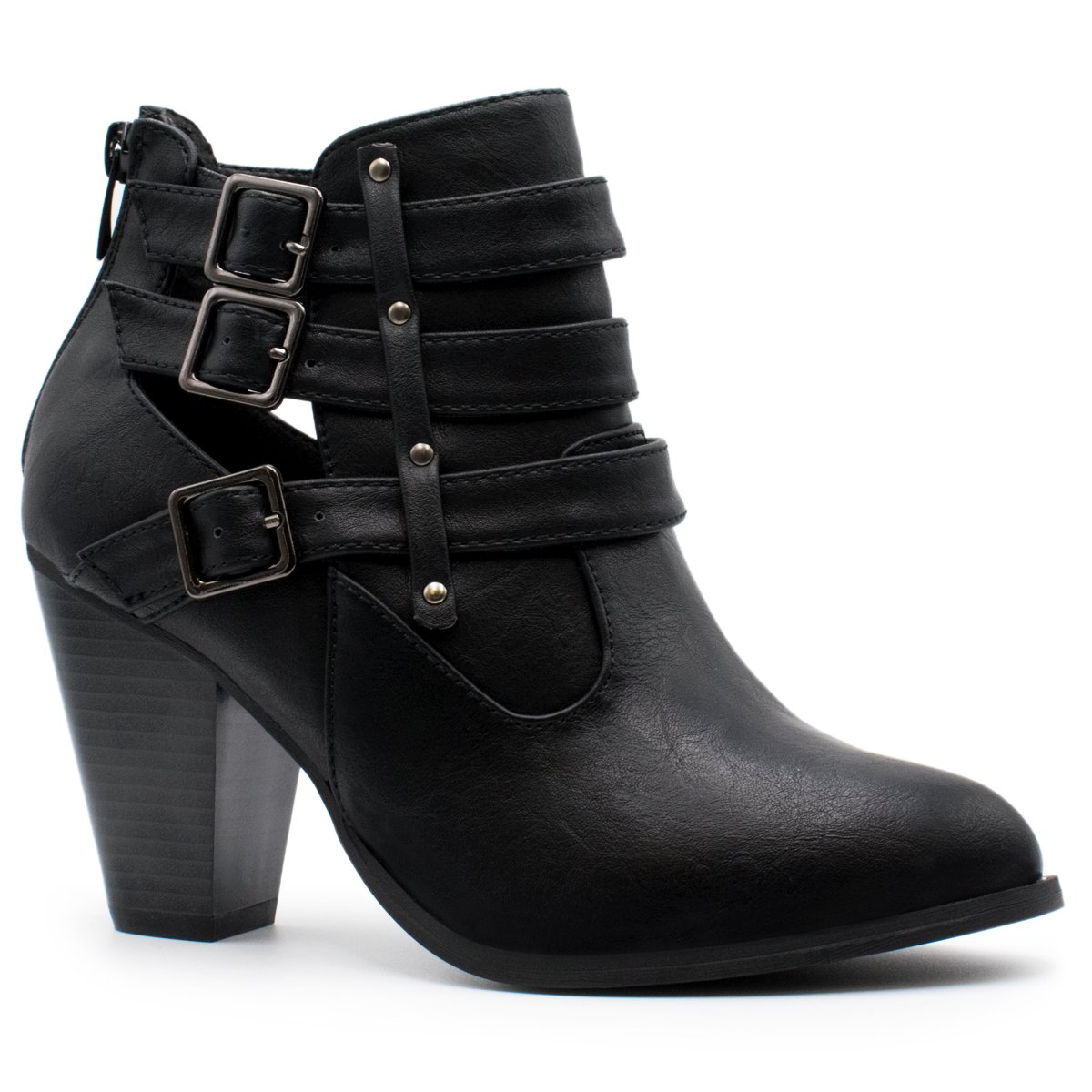 Forever Women's Buckle Strap Block Heel Ankle Booties CAMILA-64