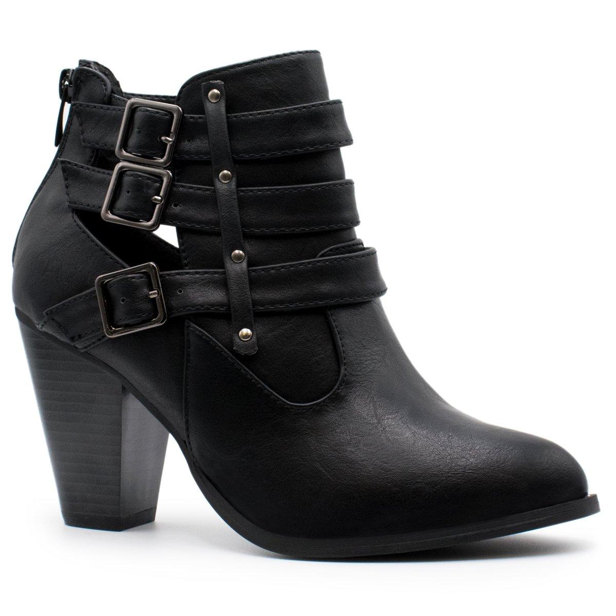 Premier Standard Women's Buckle Strap Block Heel Ankle Booties, TPS Camila-62 v4 Black Size 8.5