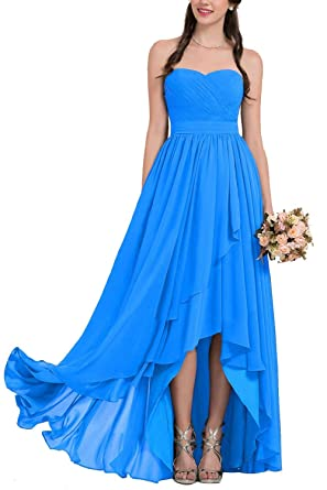 Gotidy Womens High Low Chiffon Sweetheart Bridesmaid Dress Formal Evening Prom Gowns Blue US2