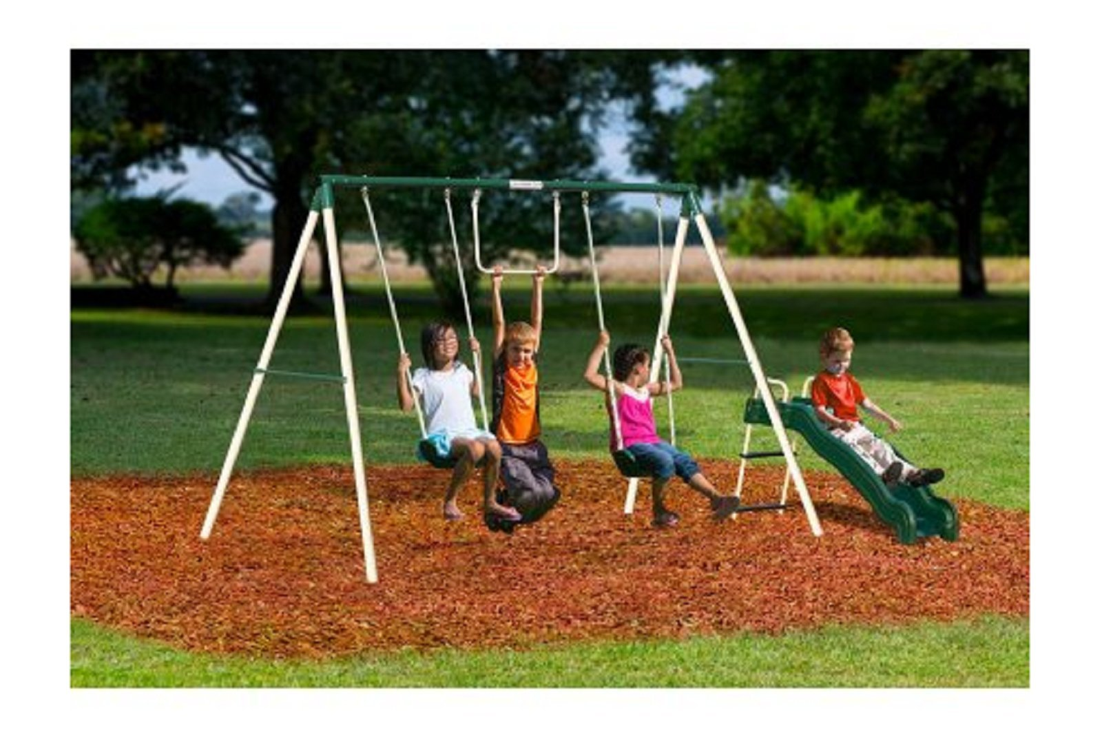 Flexible Flyer Outside Fun II Metal Swing Set Includes Swings, Trapeze, Wave Slide