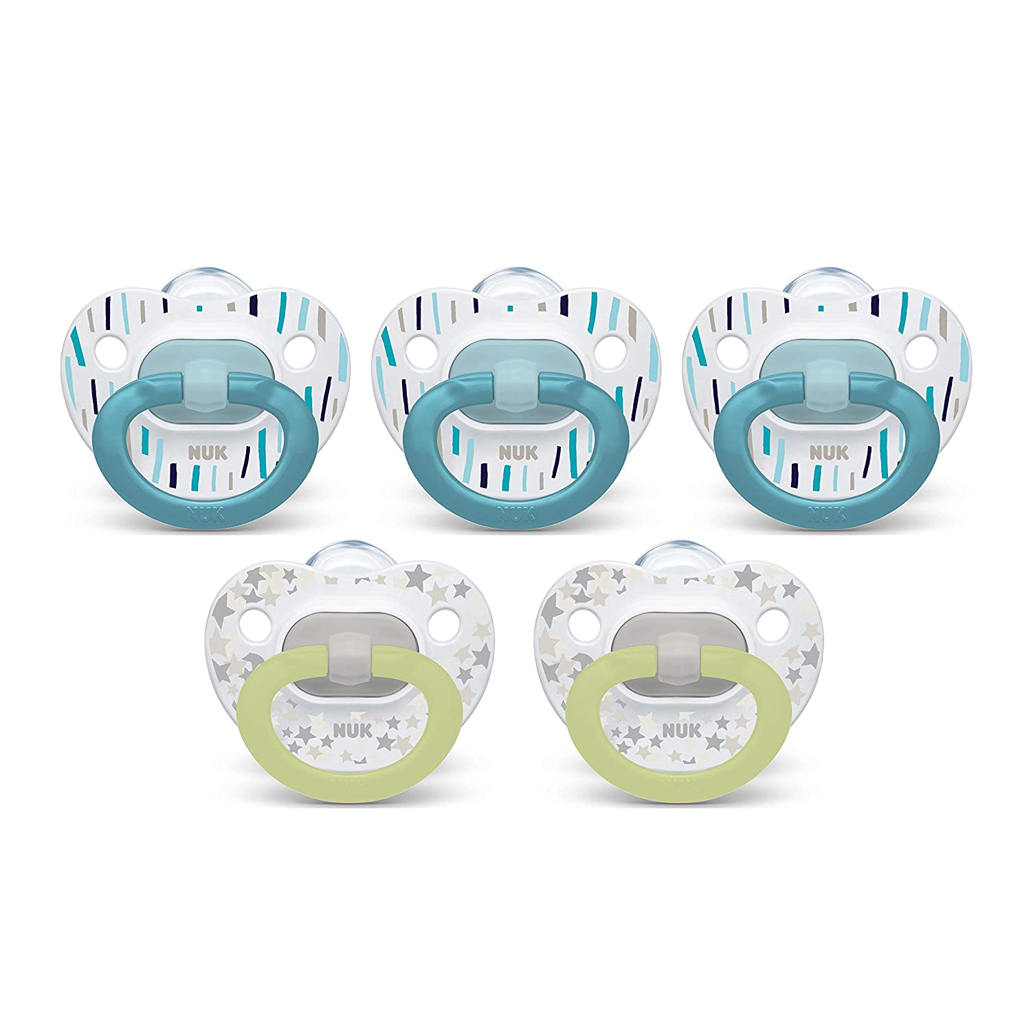 NUK Orthodontic Pacifiers, 0-6 Months, 5-Pack