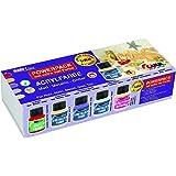 Kreul 77300 - Acrylfarben Limited Edition Matt Metallic Glitter Power Pack, 5 x 60 ml