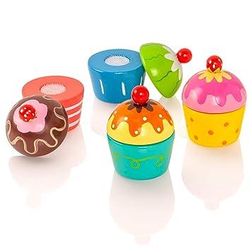 Holzspielzeug VIGA Cupcakes aus Holz zum beliebigen Kombinieren