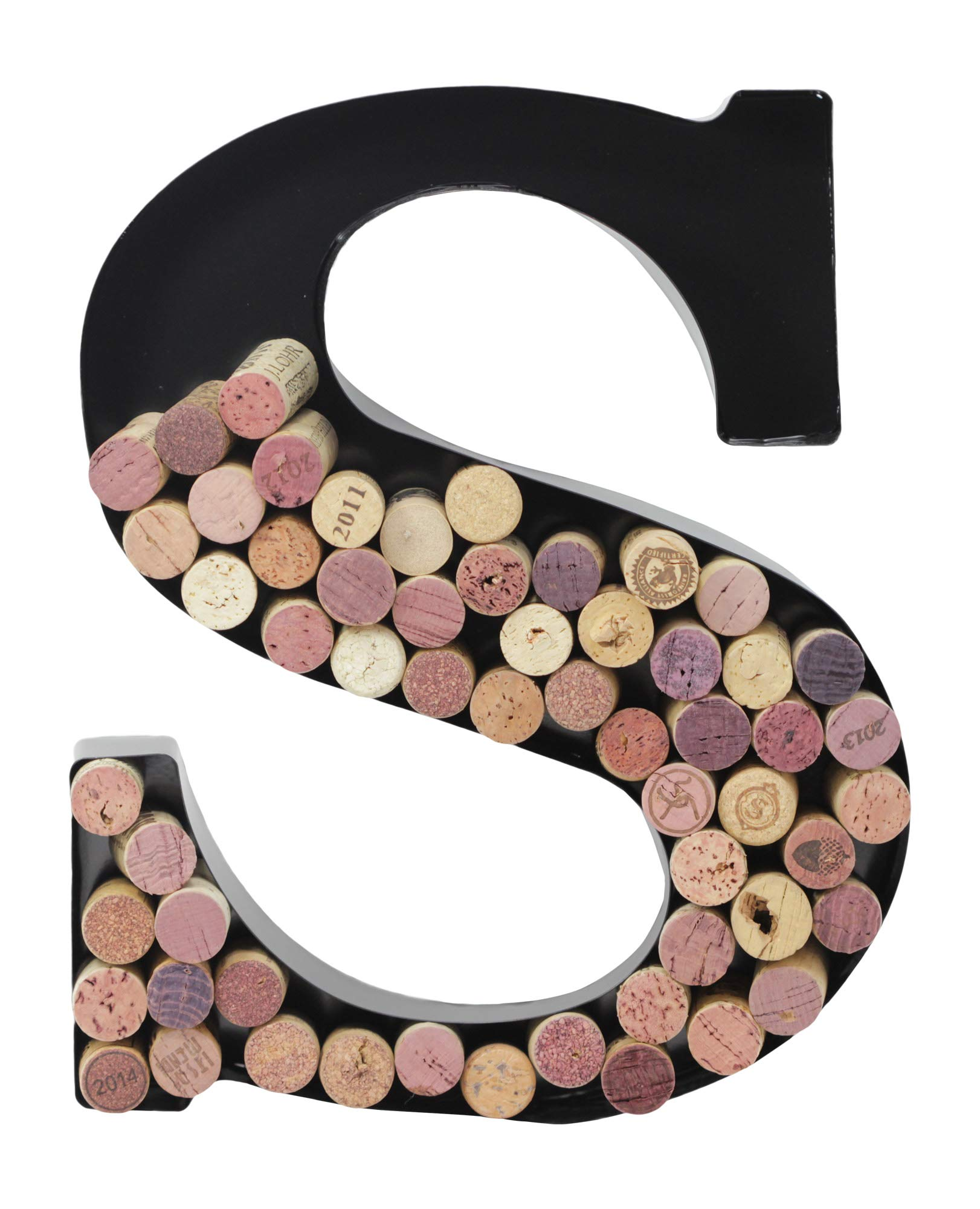 Metal Letter Wine Cork Keepsake Saver & Holder Monogram w/Free Wall Mount Kit A-Z, (S)