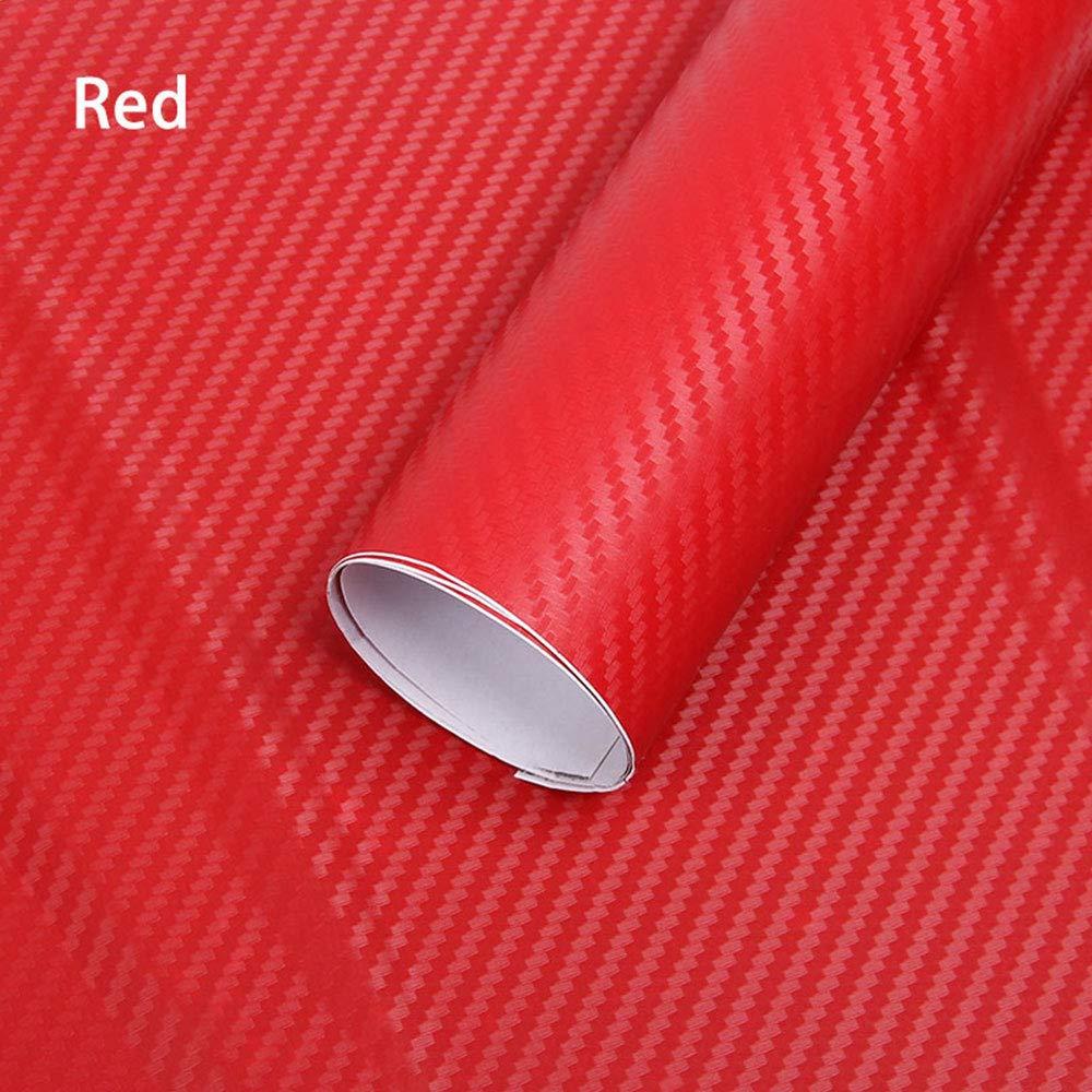 Pellicola vinilica in Fibra di Carbonio 3D Piccola Trama Involucro Lucido Autoadesivo Foglio Decalcomania XUPHINX Auto Cambiare Colore Etichetta Rosso 200x30cm
