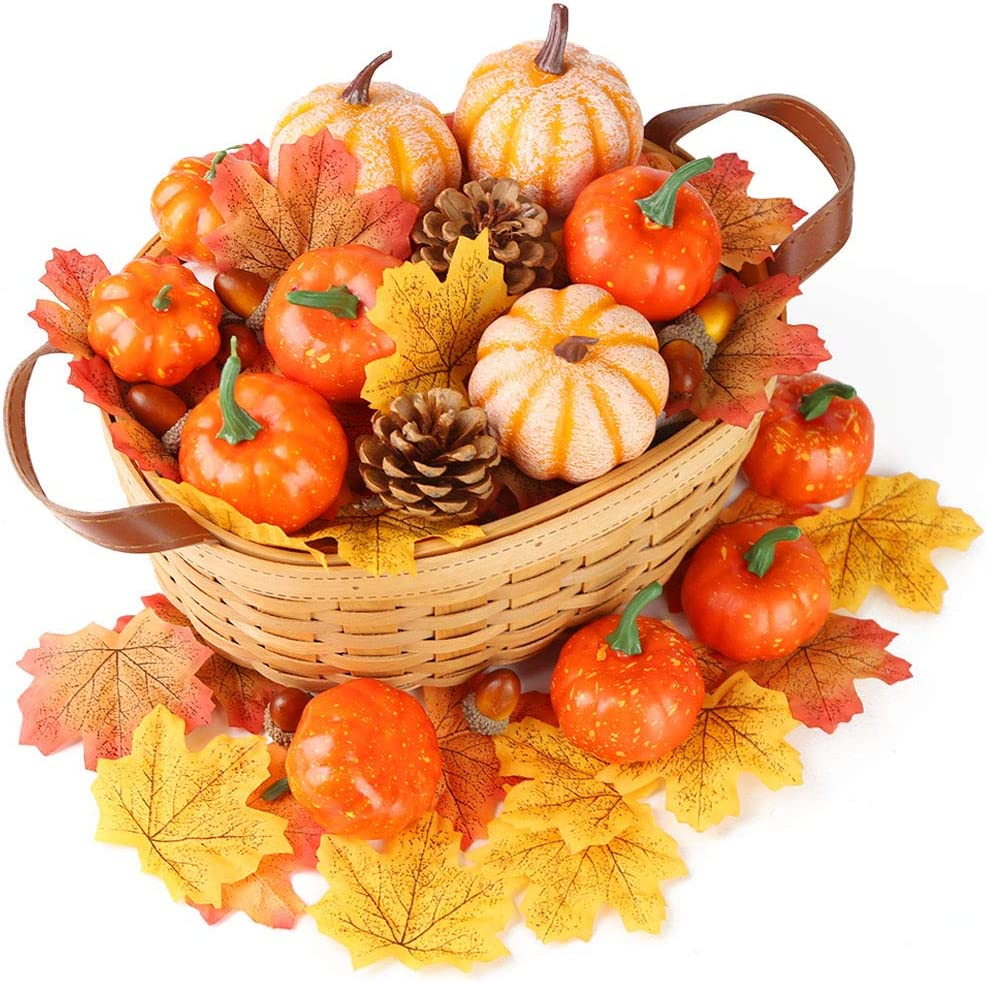HANSGO Decorative Pumpkins, Artificial Pumpkins Fake Pumpkin Thanksgiving Decoration Pumpkins with Gourds and Maple Leaves Harvest Pumpkin Centerpiece for Table
