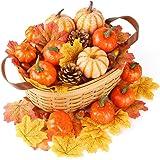 HANSGO Decorative Pumpkins, Artificial Pumpkins Fake Pumpkin Thanksgiving Decoration Pumpkins with Gourds and Maple…