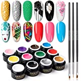 Saviland 12 Colors 3 in 1 Gel Art Paint for Nails with 3pcs Brush Pens,6ml/pcs Cable Knit Sweater Nail with 3D Embossed…