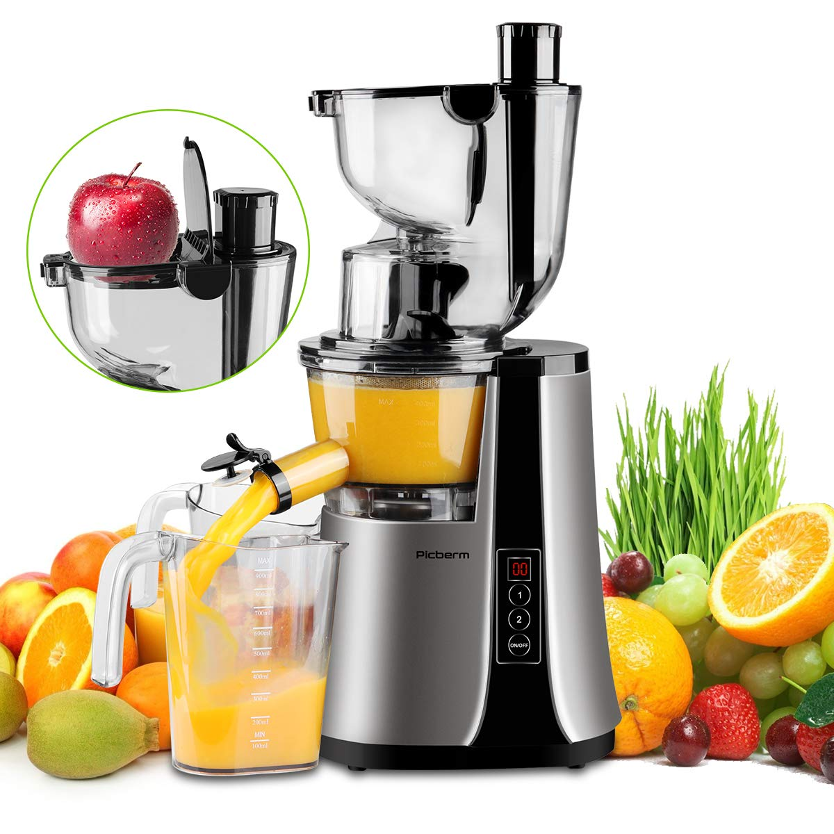 Wide Chute Slow Masticating Juicer Picberm Cold Press Juicer Extractor with Two Speed Modes, Juicer Machine for Higher Nutrient Fruit and Vegetable Juice, Quiet Motor BPA-FREE