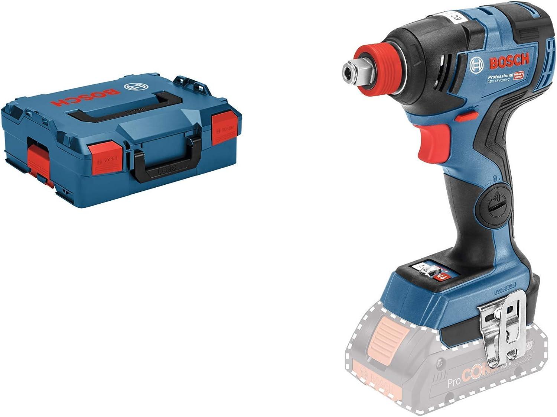 Bosch Professional GDX 18V-200 C Llave de impacto, 200 Nm, tornillos hasta M16, sin batería, en L-BOXX, 18 V, Azul
