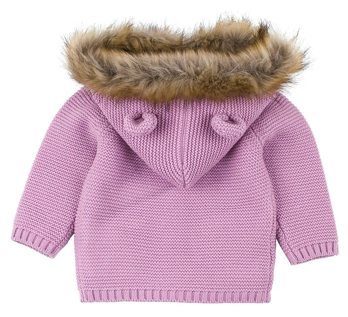 La Vogue Newborn Baby Winter Warm Hoodied Cardigan Long Sleeve Faux Fur Collar Sweater Jacket
