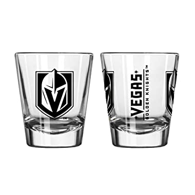 Official Fan Shop Authentic NHL Logo 2 oz Shot Glasses 2-Pack Bundle. Show Team Pride at home or your Bar. Game time glasses for a goodnight (Vegas Golden Knights)