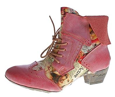 TMA Damen Stiefeletten Echtleder Comfort Boots Leder Halb Schuhe 6188 Rot Gr.  36 4275b79858