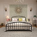 Metal Bed Frame Queen Size Platform No Box Spring Needed with Vintage Headboard and Footboard Premium Steel Slat Support…