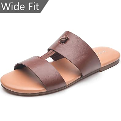849c4d1744b Aukusor Women s Wide Width Flat Sandals - Slip On Slide Summer Shoes with Two  Bands and