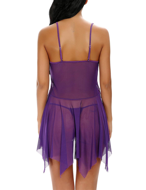 Monrolove Conjunto de Babydoll asimétrico de Encaje Transparente de lencería Sexy para Mujer con Tanga: Amazon.es: Ropa y accesorios