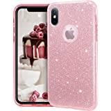"""MATEPROX iPhone Xs case,iPhone X Glitter Bling Sparkle Cute Girls Women Protective Case for iPhone Xs/X 5.8""""-Pink"""