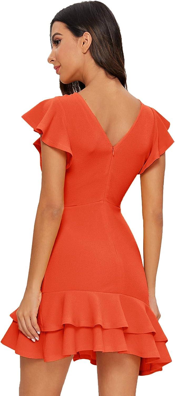 Floerns Womens Round Neck V-Back Layered Ruffle Hem Flutter Sleeve Dress